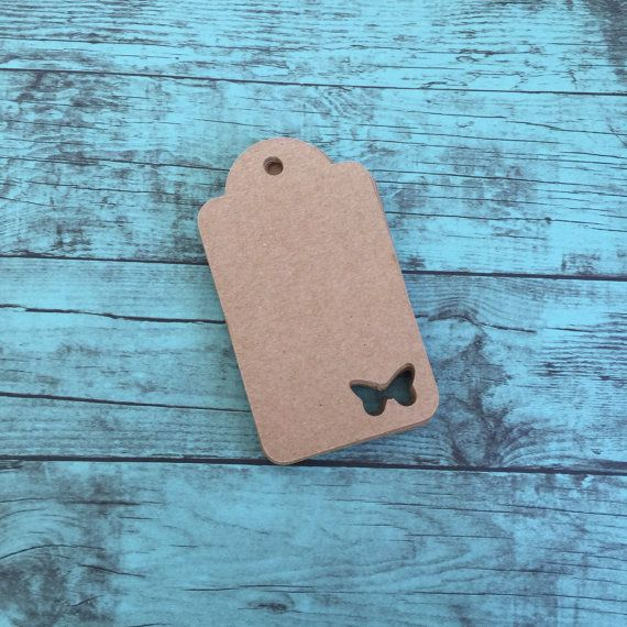 Pack of 25 blank gift tags in Kraft paper. Each tag has a butterfly cut out for some added fun. These tags are perfect for birthdays, weddings,