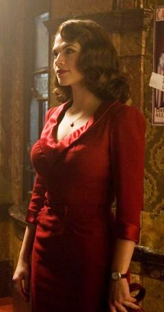 Peggy Carter played by Hayley Atwell in 'Captain America: The First Avenger' (2011). Costume Designer: Anna B. Sheppard