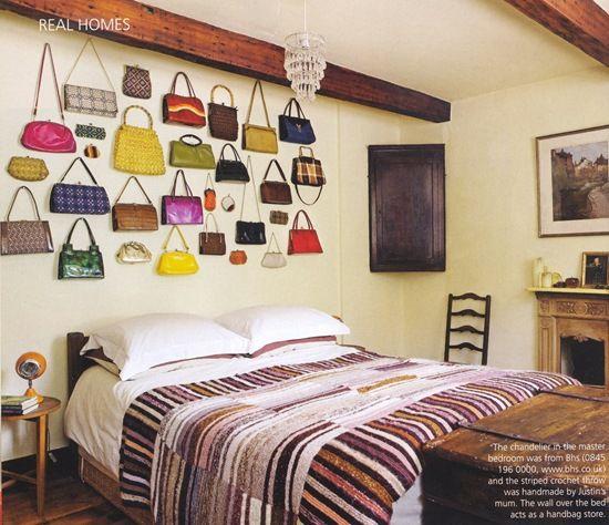 purses as wall hangings