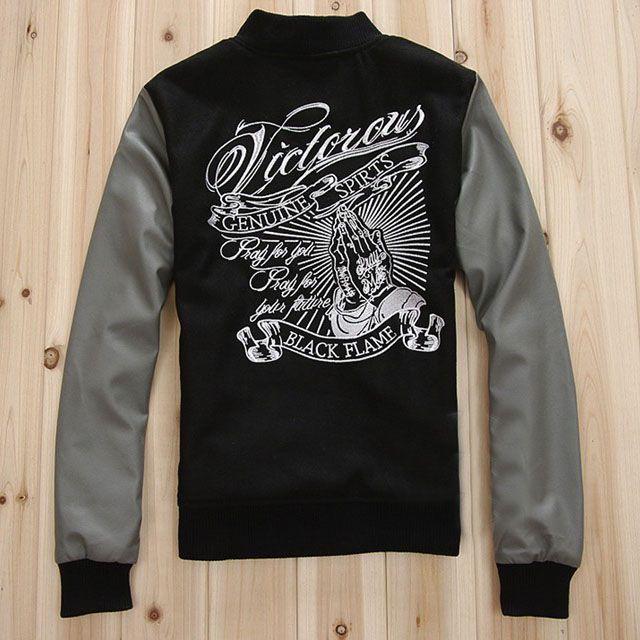 Men's Black Leather Sleeve Varsity Jacket.How do you like it?