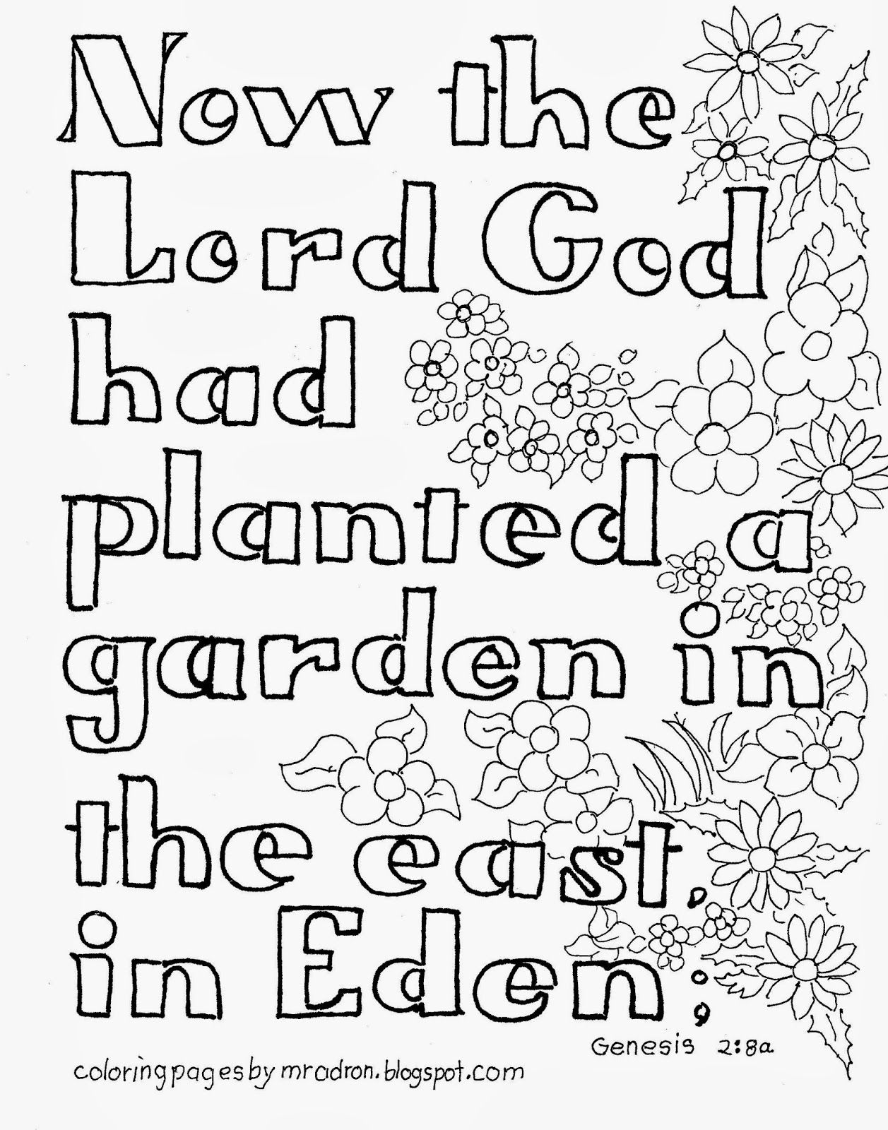 Coloring Pages For Kids By Mr Adron Garden Of Eden Bible Verse Free