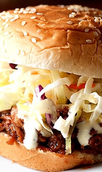 Alabama Style Pulled Pork Sandwiches Recipe Topped With