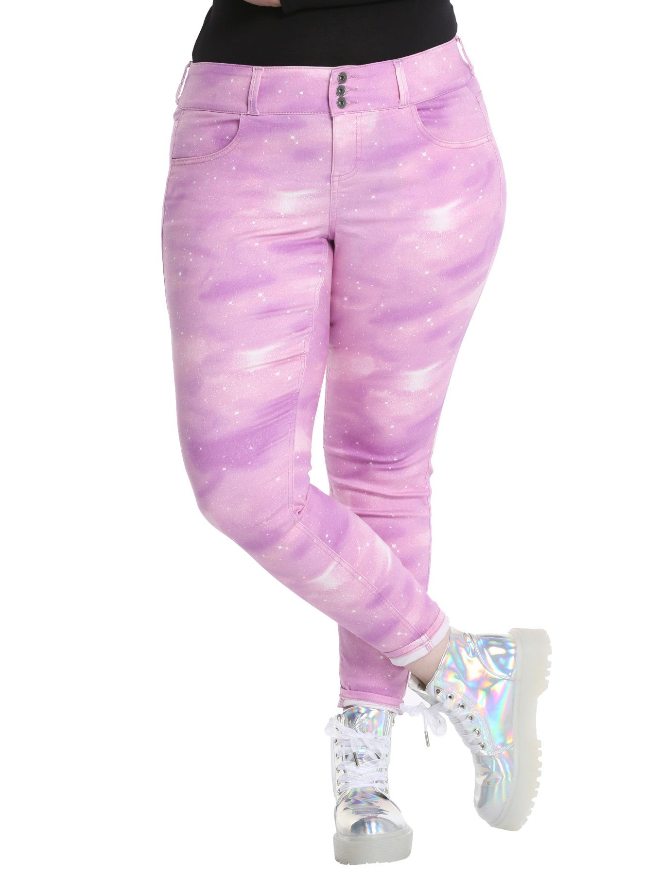 02fe8cbba4c23 They re here just for you to look cute-as-pie in! The super skinny jeans  from Blackheart have an allover pink galaxy print ...