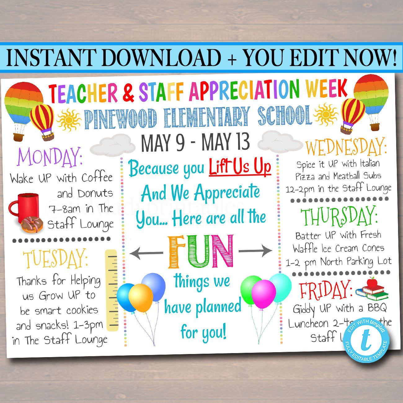 Editable Teacher Appreciation Week Itinerary Poster Digital Etsy In 2021 Teacher Appreciation Week Teacher Appreciation Staff Appreciation Week