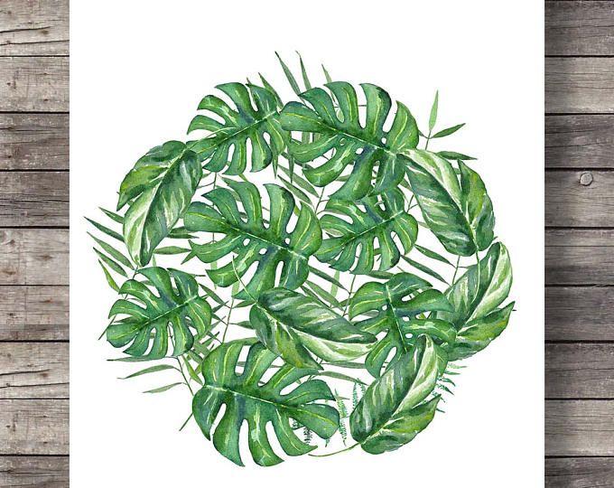 Monstera Leaves Printable Art Watercolor Fruit Salad Plant Swiss Cheese