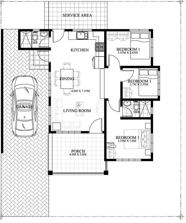 Great Small House Floor Plan U2013 3 Bedroom Single Attached. Built In A 200 Sq.m.  Lot And Having A 13 Meter Frontage With This House Can Conveniently Stand  ...