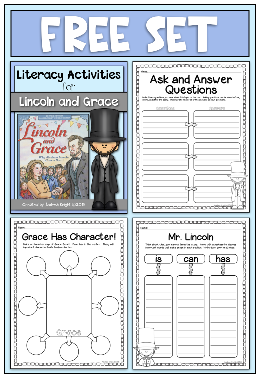 Literacy Activities For The Book Lincoln And Grace