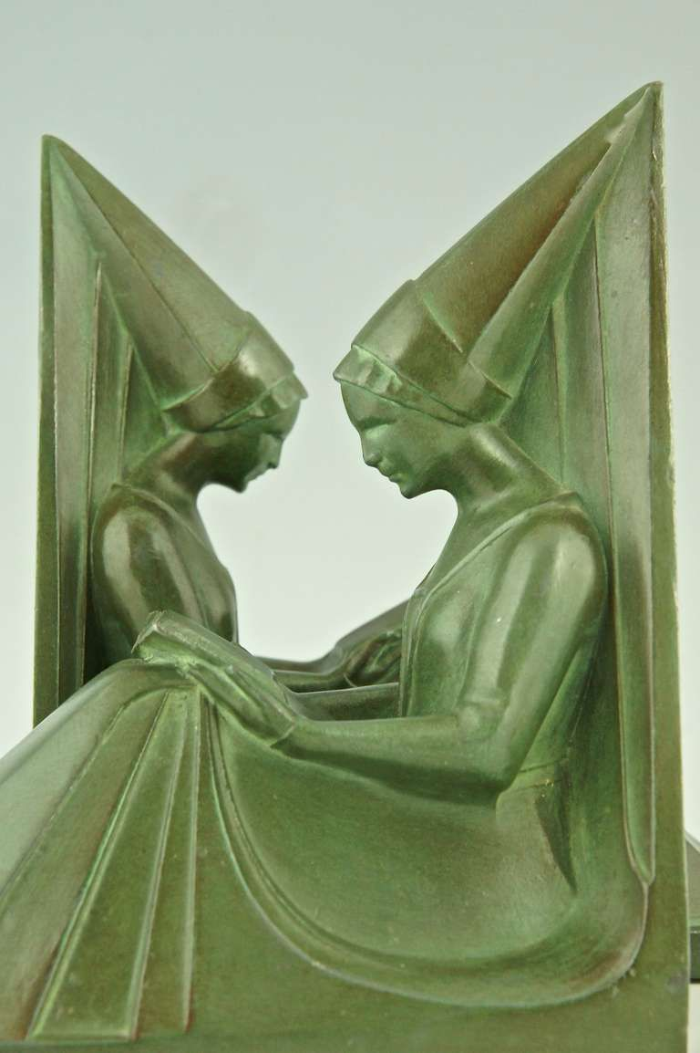 A pair of Art Deco bookends with reading ladies by Max Le Verrier ...
