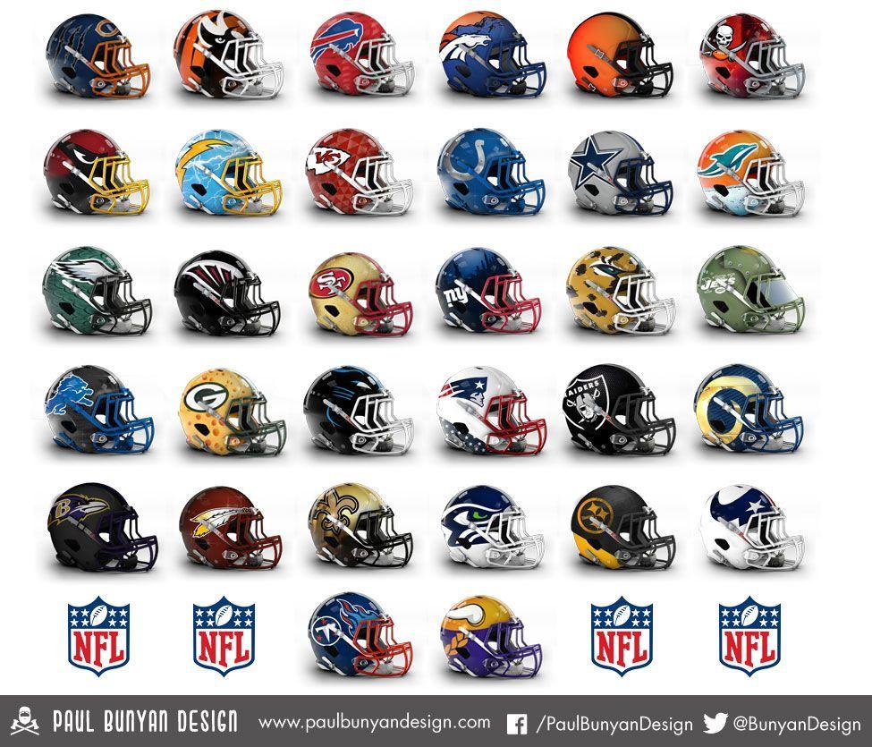 Designer gives all 32 NFL helmets a bold makeover Nfl