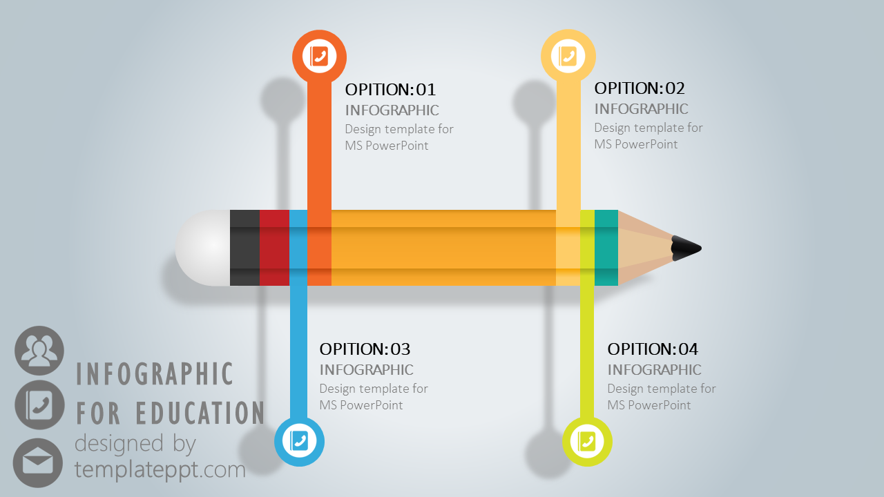Infographic Pencil Diagram For Powerpoint Template Pinterest