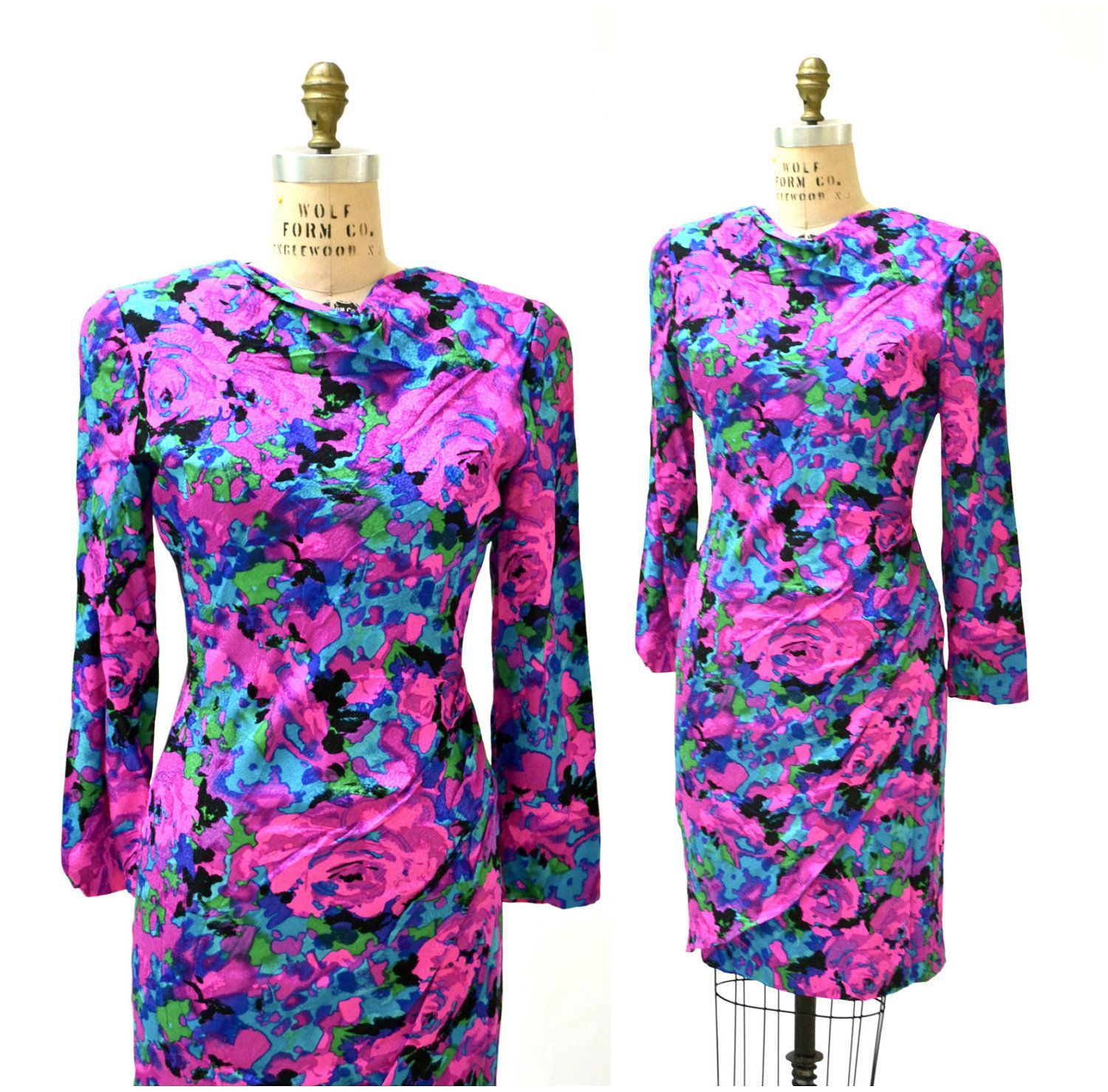 80s 90s Vintage Floral Print Silk Dress Neon Pink Abstract Print ...