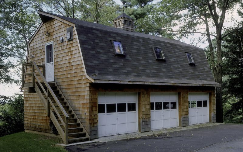 24\' x 36\' gambrel 3 bay garage with an efficiency apartment above ...