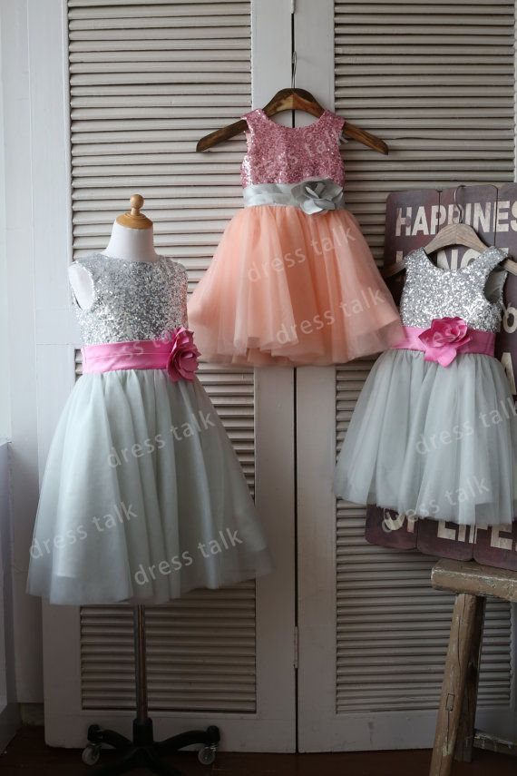 Silverpink sequin grey tulle flower girl dress toddler baby girl silverpink sequin grey tulle flower girl dress toddler baby girl dress for wedding with flower sash birthday dress on etsy 5299 mightylinksfo