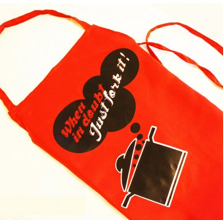 Just fork it - Apron in red $26