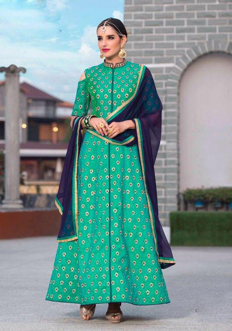 Wedding wear Green Floor Length anarkali Suit in silk | Anarkali ...