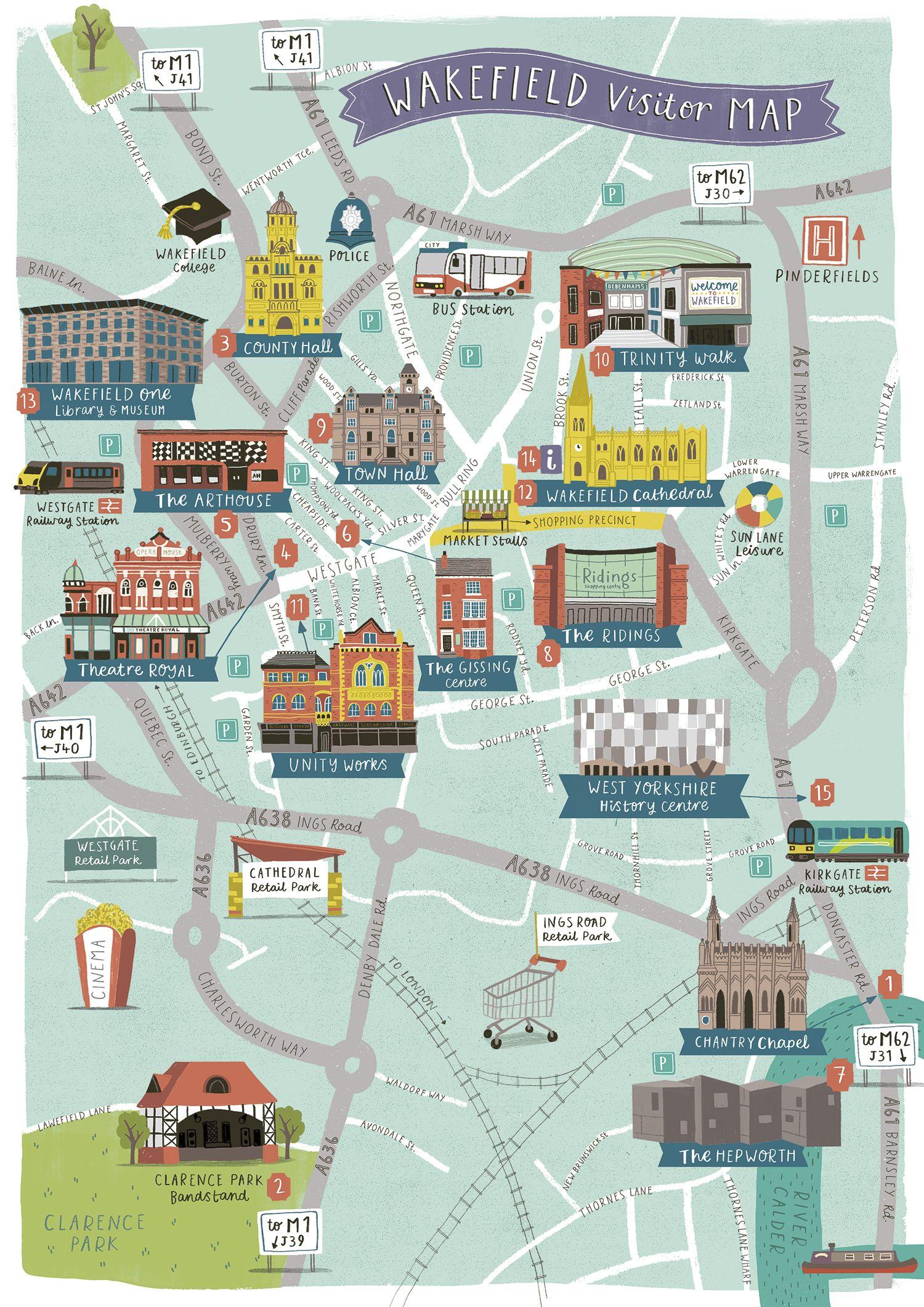 Wakefield Visitor Map lizkaycouk My work Pinterest
