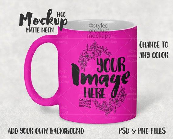 Dye Sublimation 11 Oz Matte Neon Coffee Mug Mockup Template