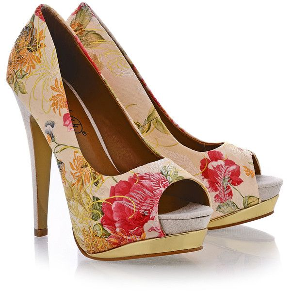 TIMELESS GEISHA Beige Floral Peep Toes found on Polyvore