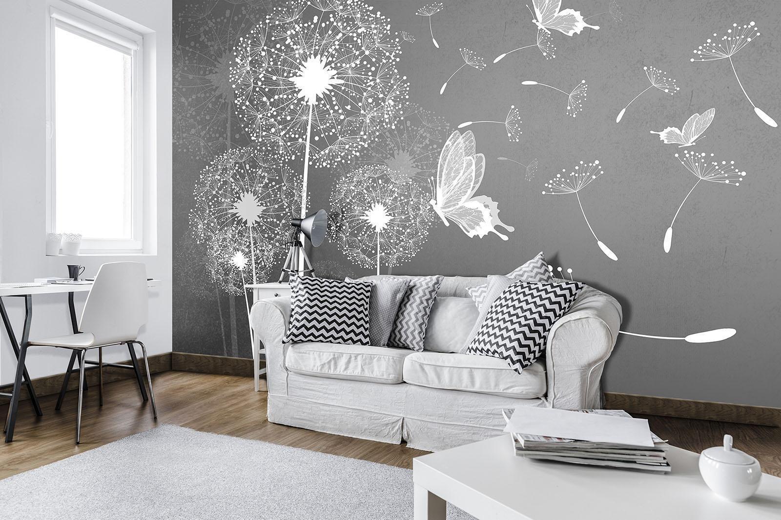 Fx_p  Fototapete Tapete Wandbild Pusteblumen Und Schmetterlinge Natur