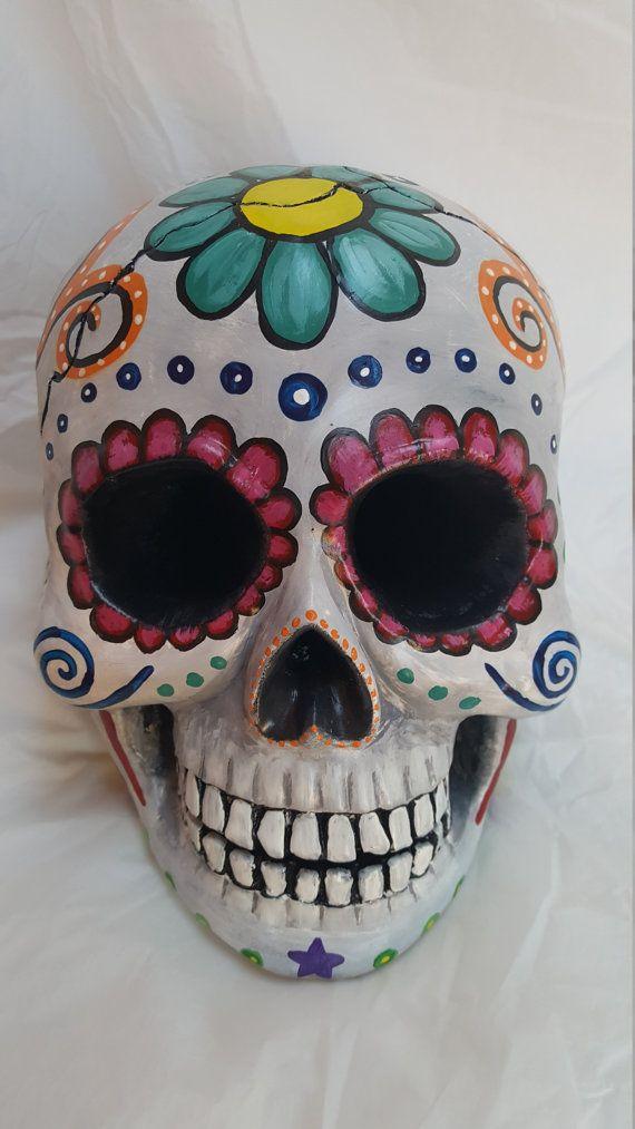 Sugar Skull Painted Sculpture Sugar Skull Gift Calavera Sugar Skull Painting