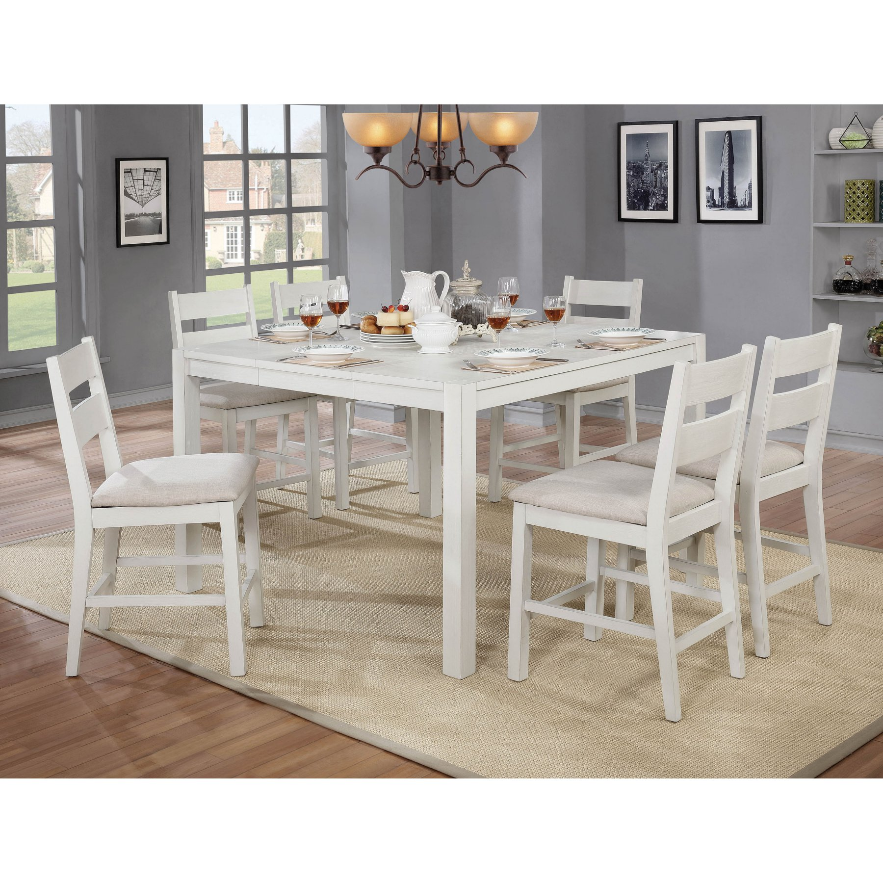 Furniture Of America Galveston 7 Piece Rustic Counter Height Extension