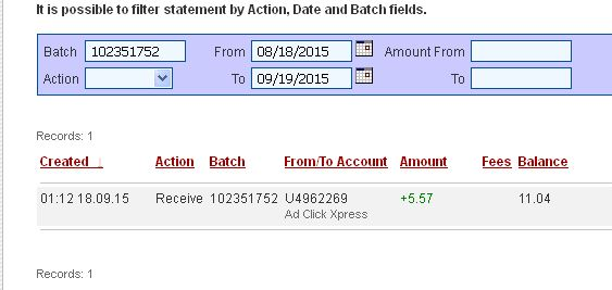 """I am getting paid daily at ACX and here is proof of my latest withdrawal. This is not a scam and I love making money online with Ad Click Xpress."""" """"Here is my Withdrawal Proof from AdClickXpress. I get paid daily and I can withdraw daily. Online income is possible with ACX, who is definitely paying - no scam here."""" """"I WORK FROM HOME less than 10 minutes and I manage to cover my LOW SALARY INCOME. If you are a PASSIVE INCOME SEEKER, then AdClickXpress (Ad Click Xpress) is the best ONLINE…"""