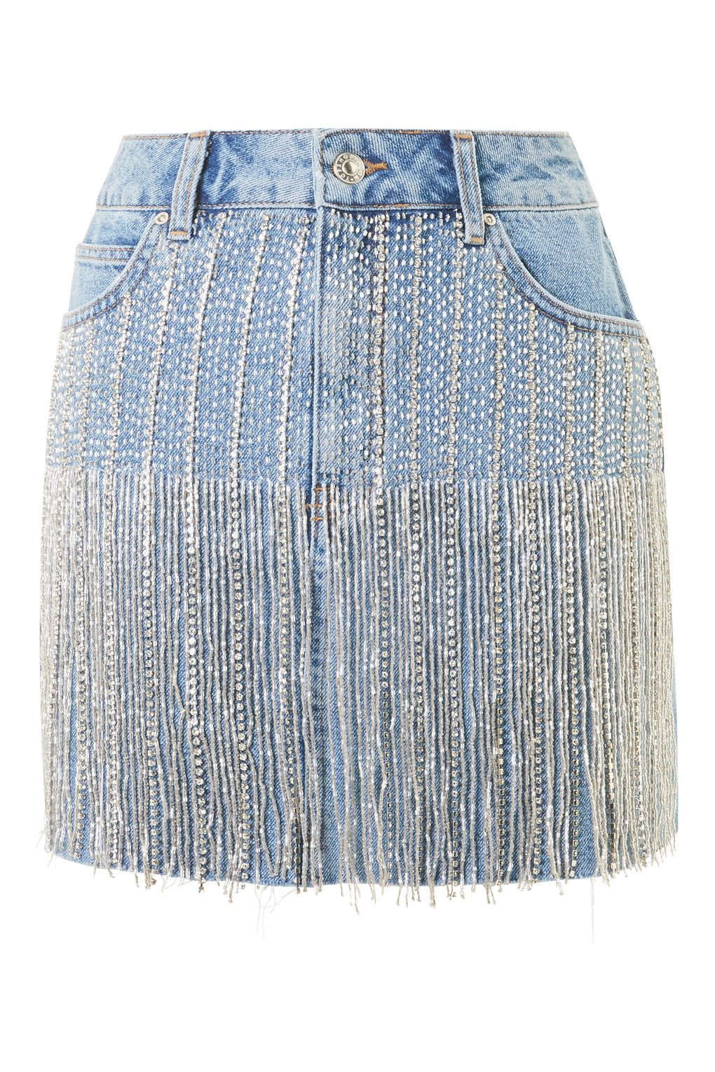 35c78b9215b MOTO Dazzle Fringe Denim Skirt in 2019