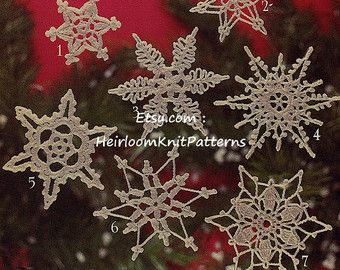 16 Snowflakes Crochet Pattern Christmas Ornaments Tree Trims Decorations Snowflakes Applique Christmas Crochet Pattern PDF - 1057