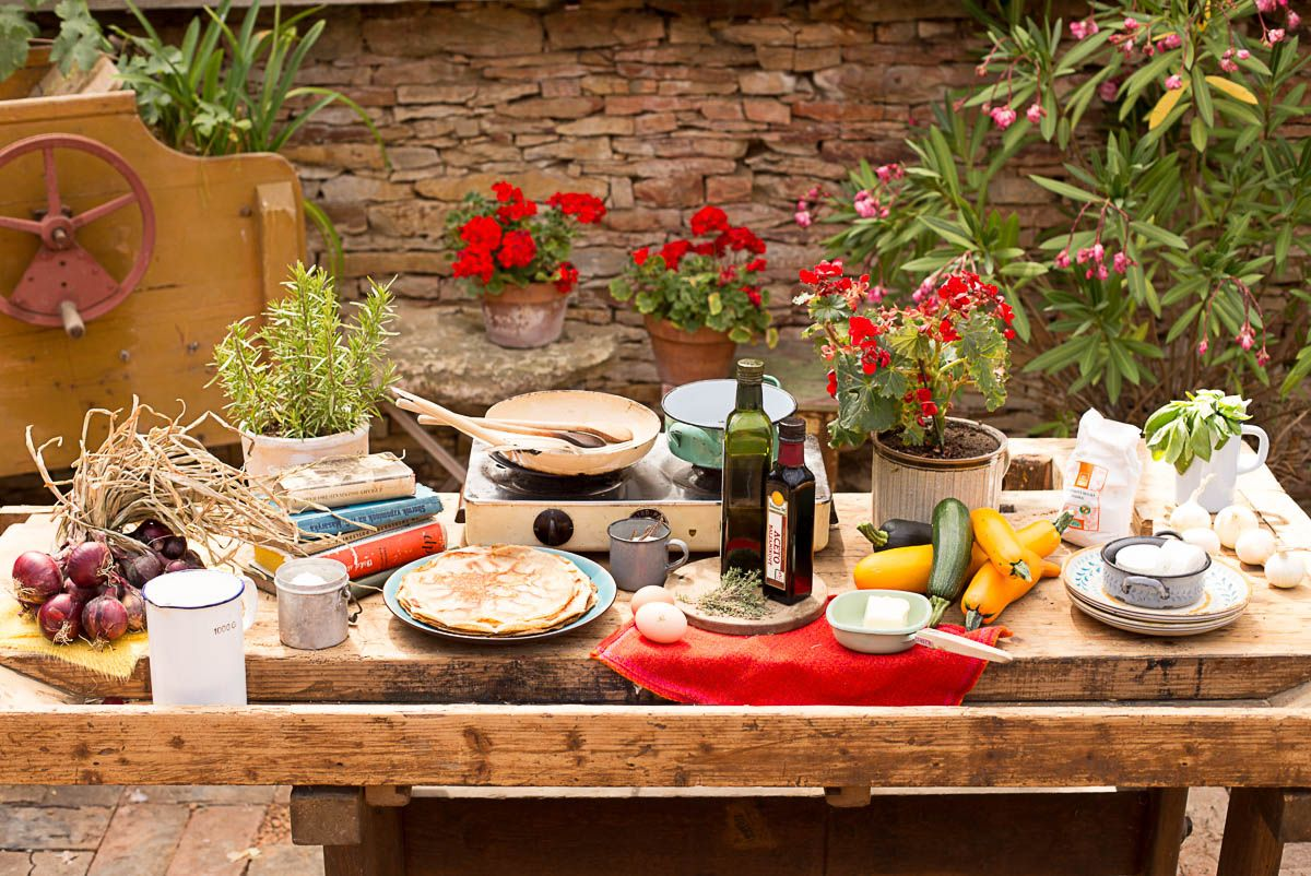 Galetky se zeleninou a restovanou cibulkou