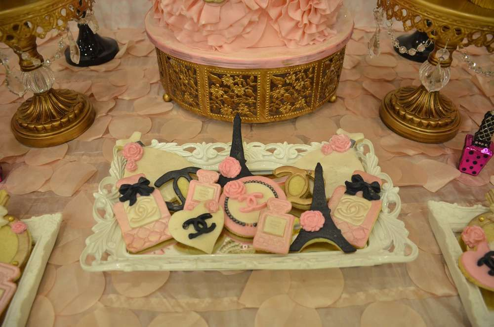 Decorated cookies at a Chanel engagement party! See more party planning ideas at CatchMyParty.com!