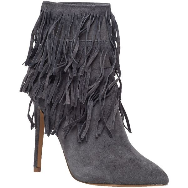 f27b4a2b006 STEVE MADDEN Flapper Grey Suede Fringe Bootie ( 169) ❤ liked on Polyvore  featuring shoes