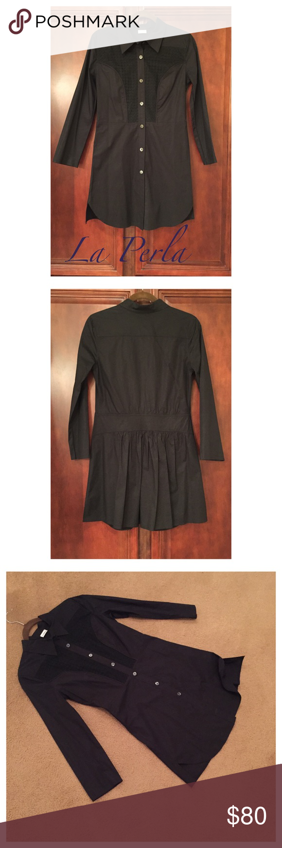 """La Perla Tunic or Shirt Dress La Perla Made in Italy black shirt dress or tunic it ha slits on the sides approx 2"""" it is in nice condition size 42 No Trades La Perla Dresses"""