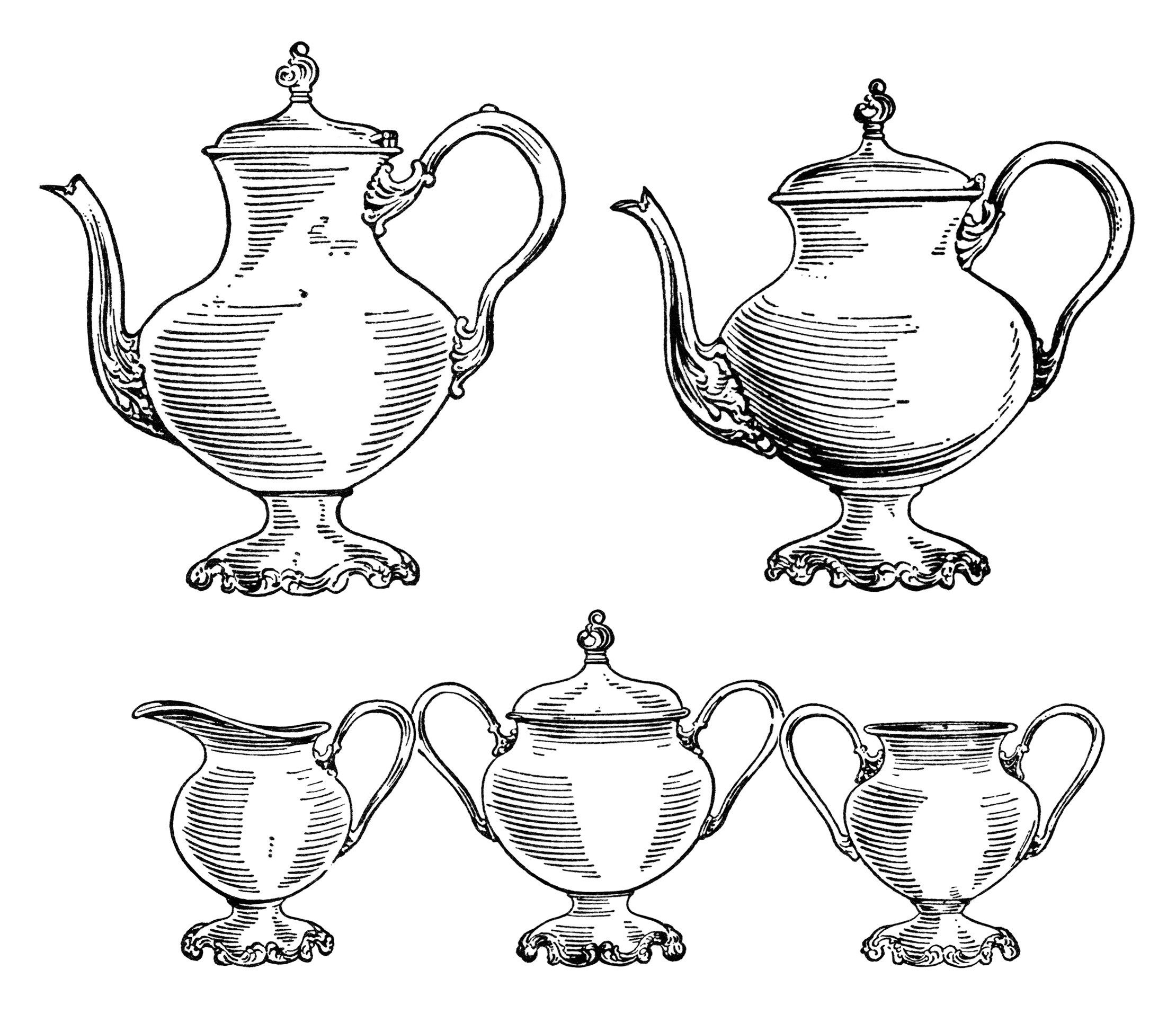 Vintage Tea Set Clip Art, Black And White Clipart, Old