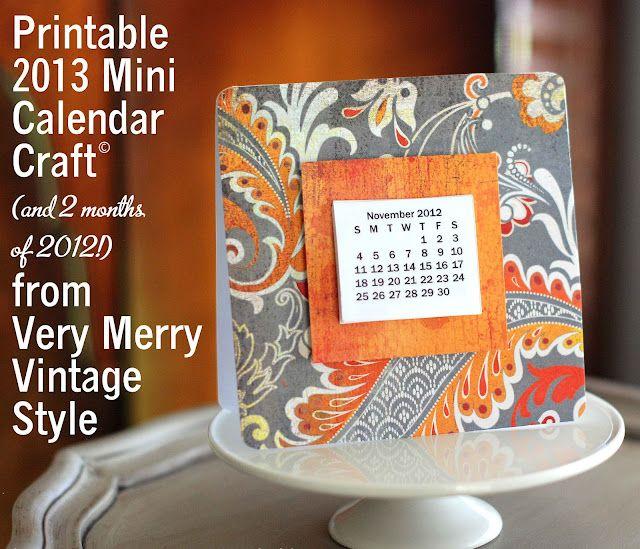 Very Merry Vintage Syle's 2013 mini calendar printable