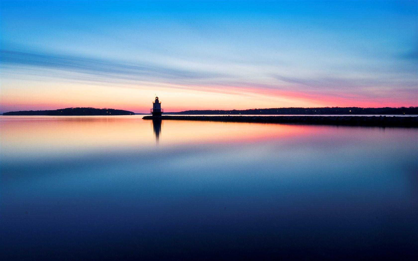 壁紙 朝の灯台水の反射 2560x1600 Hd 無料のデスクトップの背景 画像 デスクトップの背景 風景 都市景観