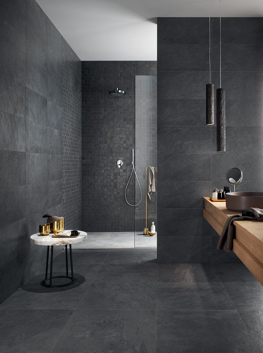 Atmospheric, Modern Bathroom Featuring Walk In Shower And Slate Effect Tiles  . Amazing Pendent Light