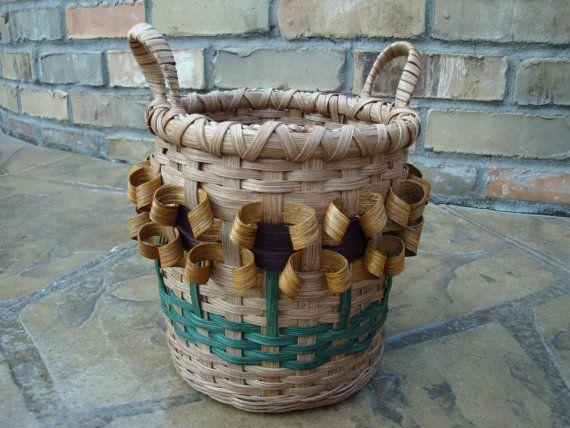 Sunflower Utensil Basket Handwoven by kimstexascreations on Etsy, $18.00 ♥