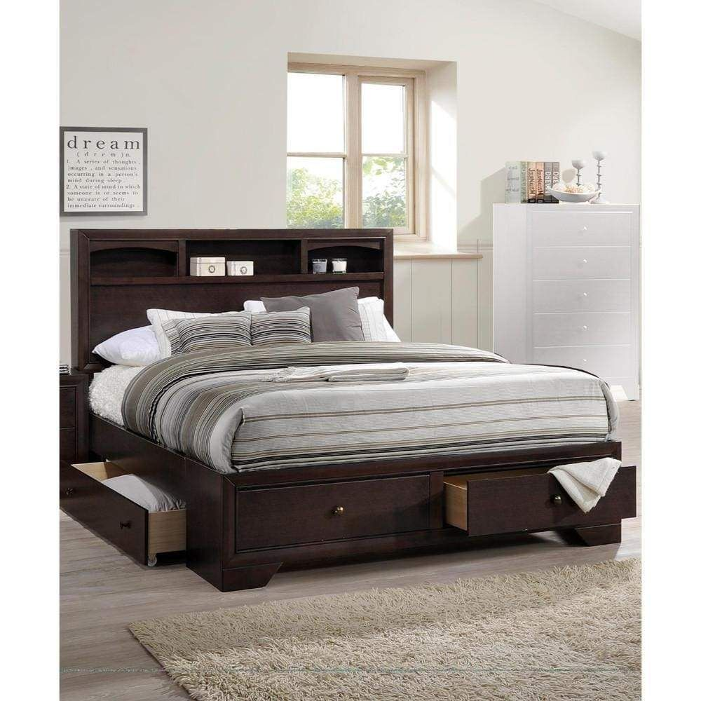 Wooden E.King Bed With Display Shelves & Under Bed Drawers
