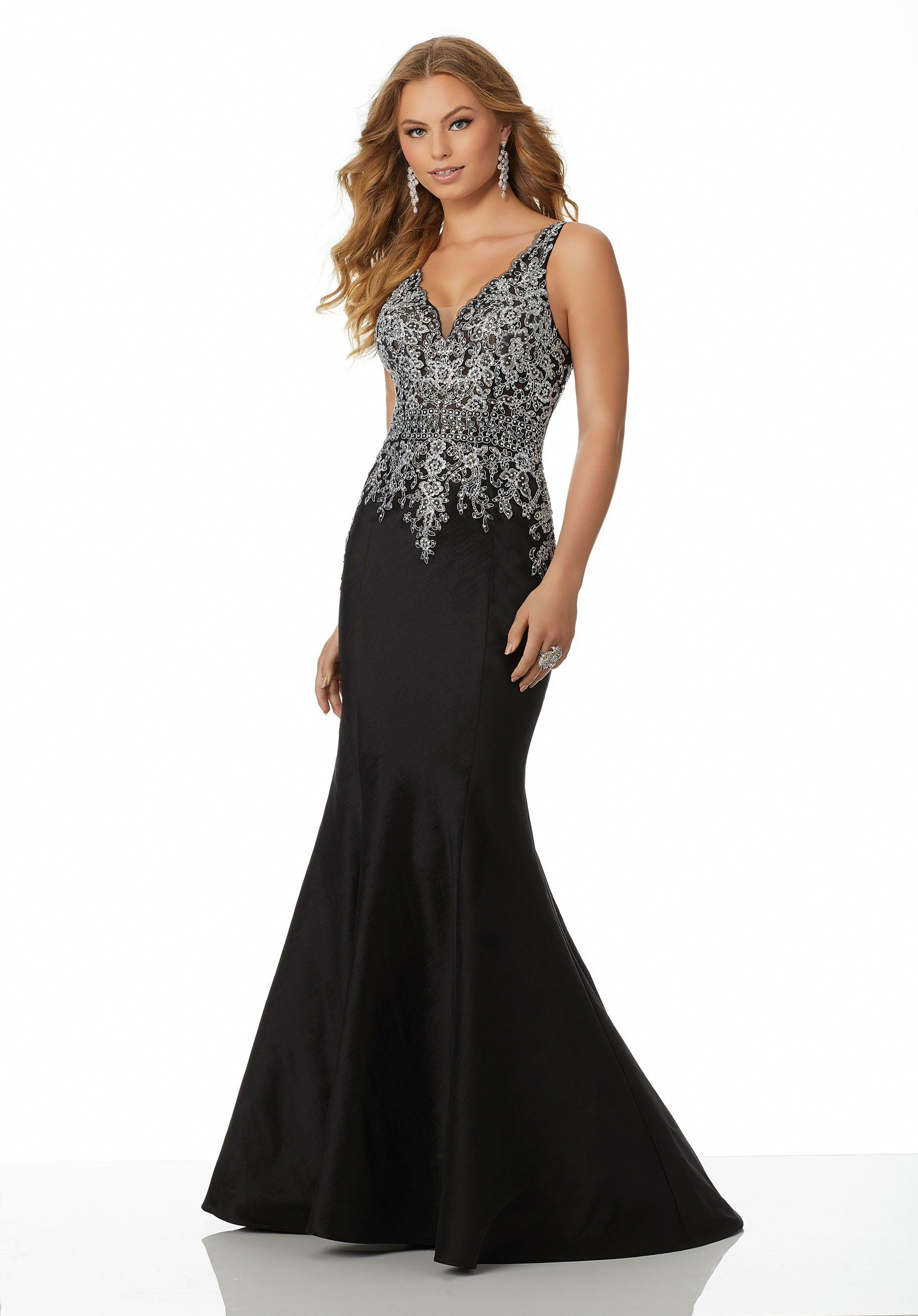 84cc1012a67 Prom Dress 98035 Beaded and Embroidered Net on Stretch Taffeta ...