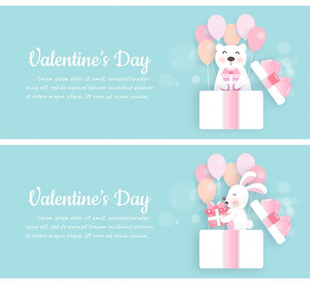 Set of valentines day banners with cute  Premium Vector
