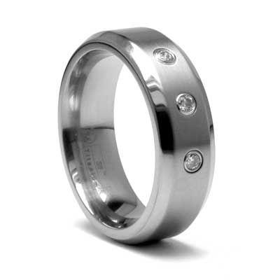 Edward Mirell Mens Grey Titanium 70mm Beveled Edge Wedding Band