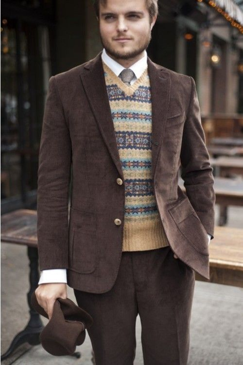 Men's Dark Brown Blazer, Yellow Fair Isle V-neck Sweater, White ...