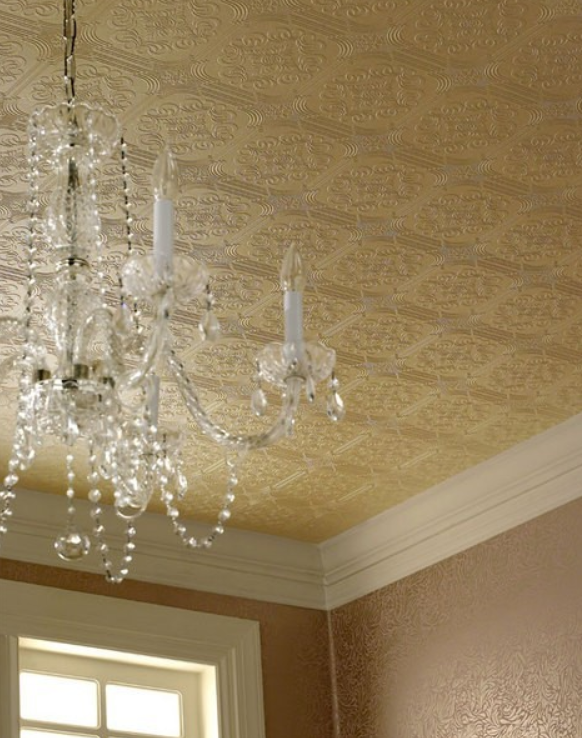Faux Tin Ceiling Wallpaper Wallpaper ceiling, Paintable