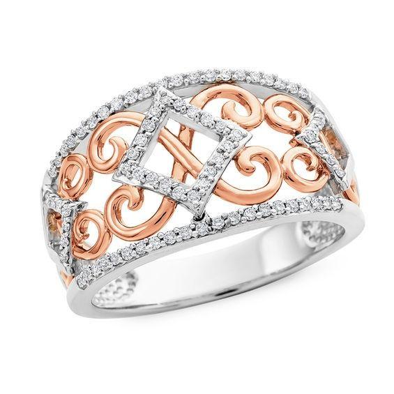1 4 Ct T W Diamond Filigree Ring In 10k Two Tone Gold Size 7 Filigree Ring Diamond Star Fashion Rings