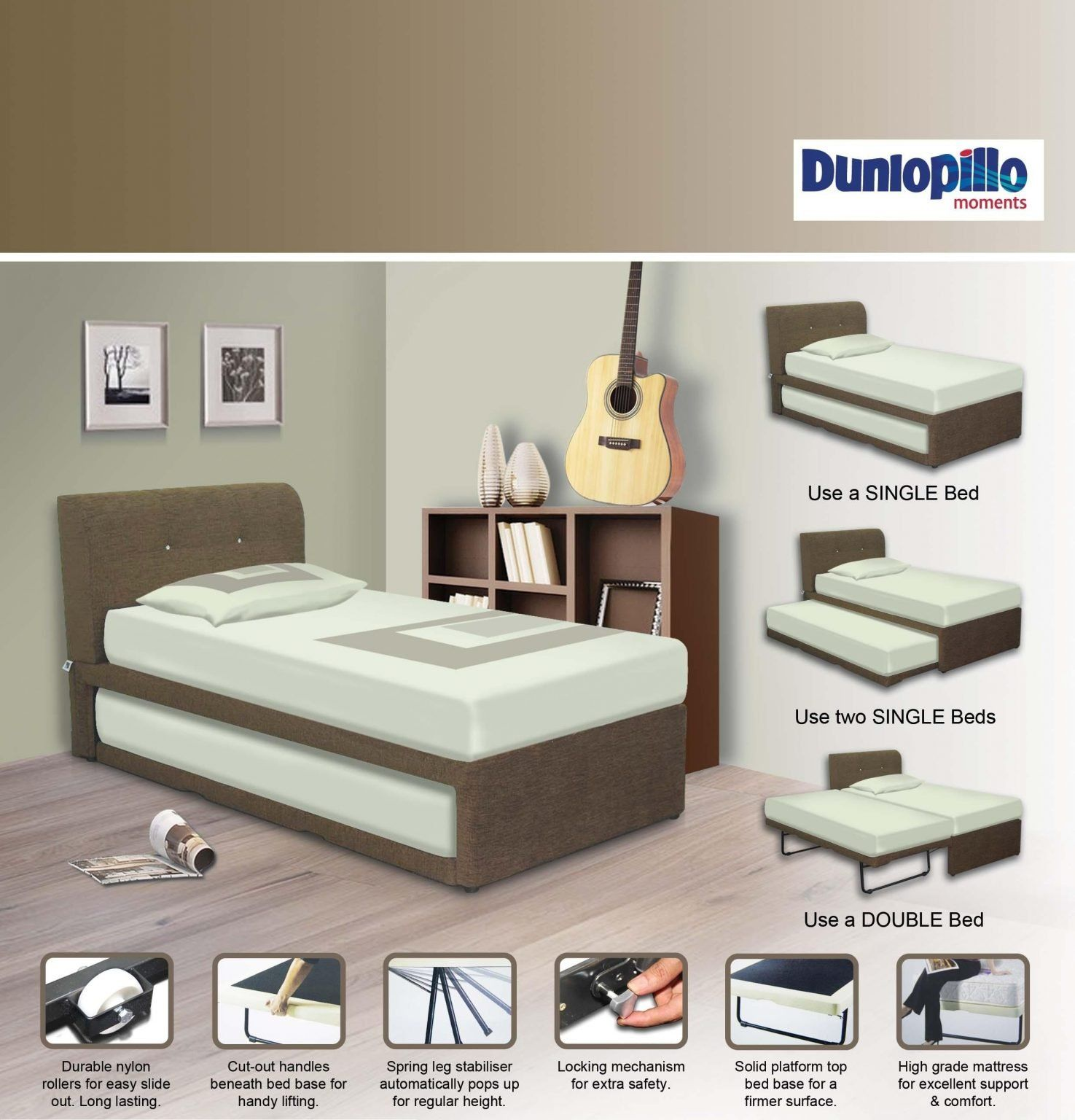 New Harmony Crystal 3 In 1 Pull Out Bed Dunlopillo Singapore In 2020 Pull Out Bed Mattress Sizes Material Bed