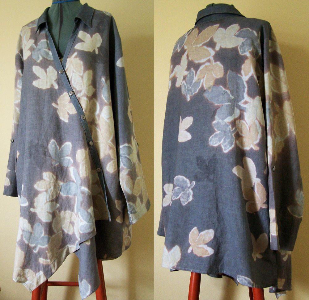 Winter Sun Linen Tunic Shirt Asymmetrical Hem Sz XL Lt Blue Gray Cool Detailing #WinterSun #Blouse
