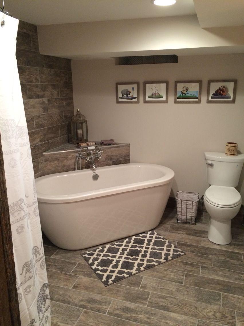 Basement Bathroom Freestanding Tub Gray Wood Porcelain Tile