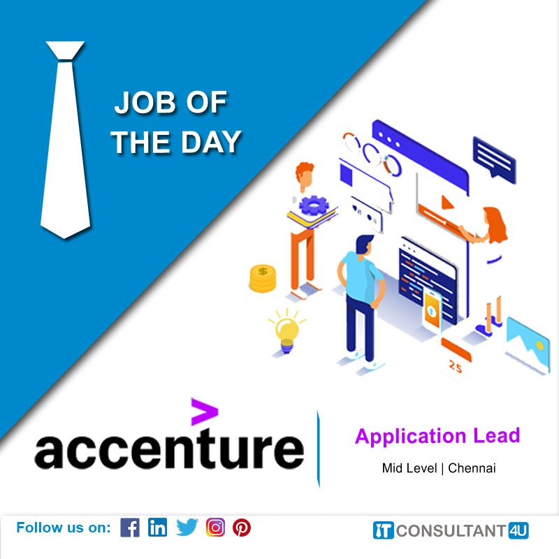 Accenture Is Hiring Applicationlead Itconsultant4u In 2020 Help Finding A Job Job Opening Job Posting