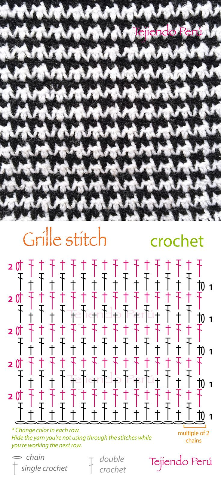 Crochet: grille stitch or pied de poule diagram (pattern or chart ...