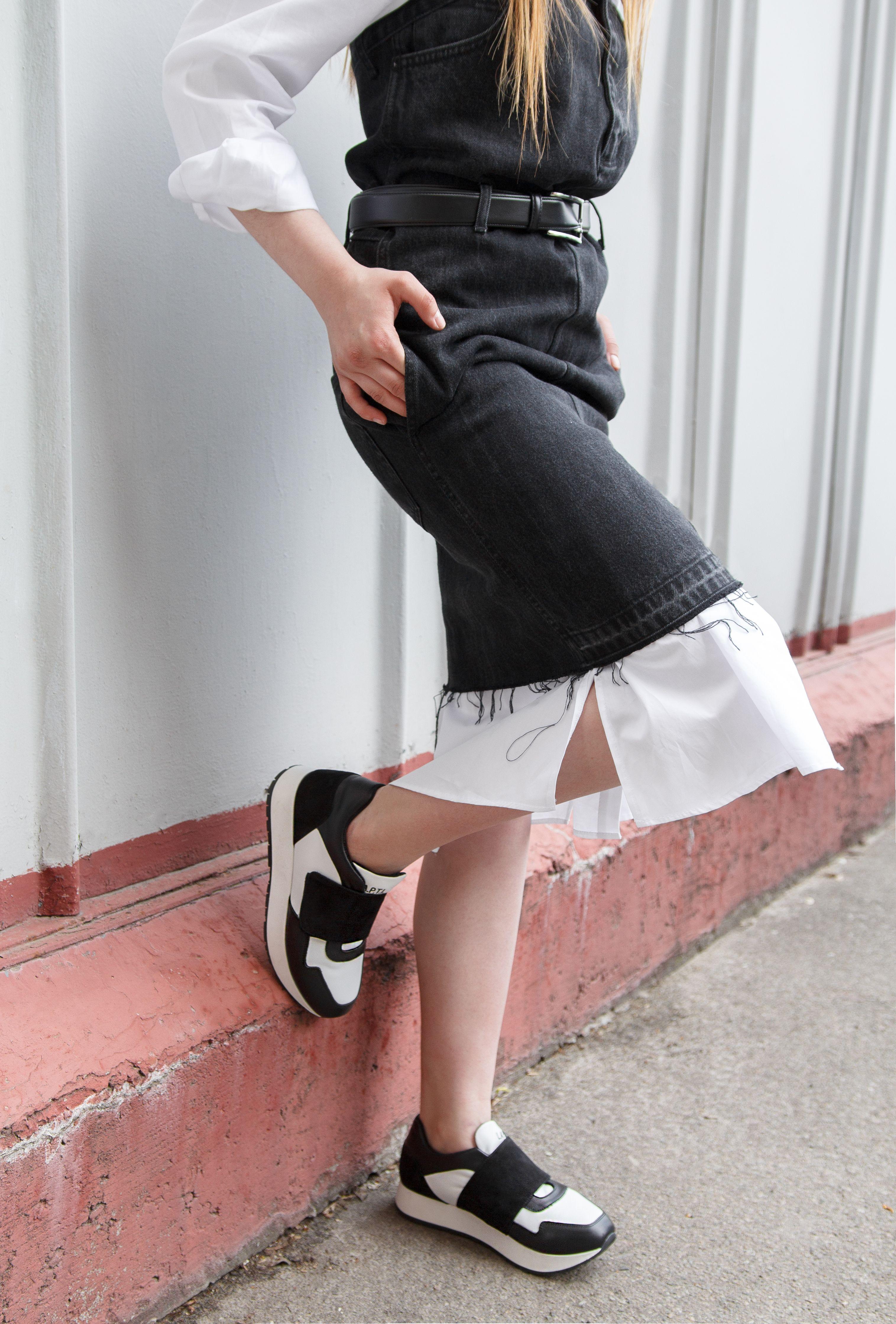 efdbbcd79 Womens leather sneakers black&white / Женские кожаные черно-белые кроссовки